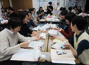 スキンケアの実習も行った愛媛助産師会の研修会